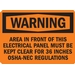 AREA IN FRONT OF THIS ELECTRICAL PANEL MUST BE KEPT CLEAR